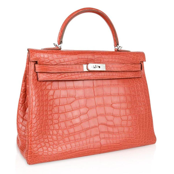 Hermes Kelly Bag 35 Matte Alligator Sanguine Supple Retourne Palladium
