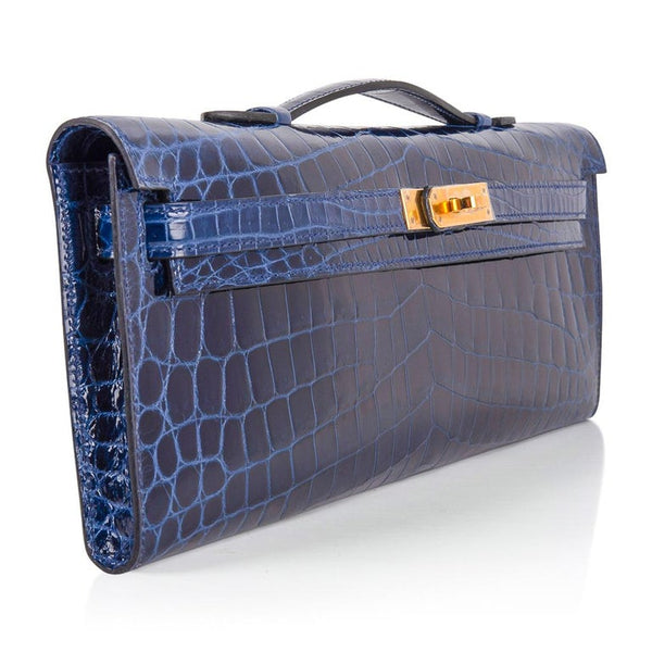 Hermes Kelly Cut Blue Sapphire Crocodile Gold Hardware