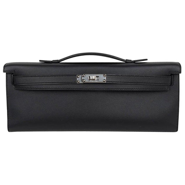 Hermes Kelly Cut Clutch Bag Black Swift Palladium