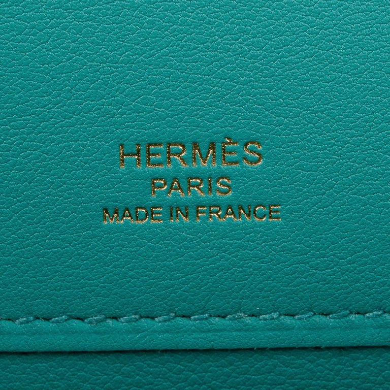 Hermes Kelly Cut Vert Verone Clutch Bag Gold Hardware Swift Leather