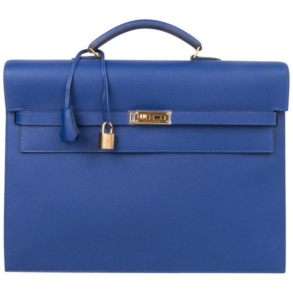 Hermes Kelly Depeche 38 Briefcase Electric Blue Gold Hardware