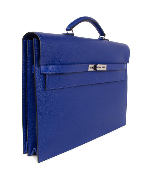 Hermes Kelly Depeche 38 Briefcase Rare Electric Blue Palladium