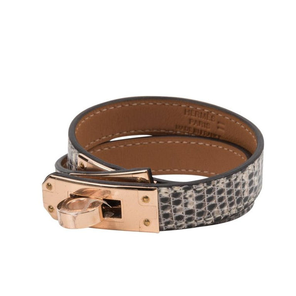 Hermes Kelly Double Tour Bracelet Ombre Lizard Rose Gold Hardware