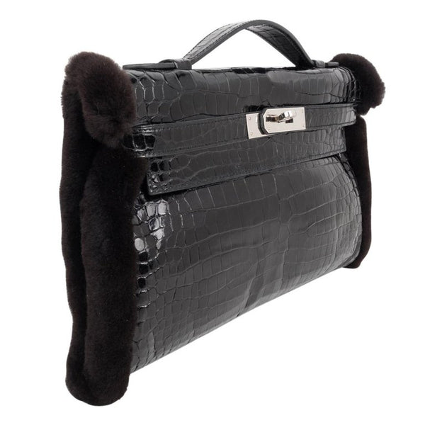 Hermes Kelly Manchon Black Mink and Porosus Crocodile Muff