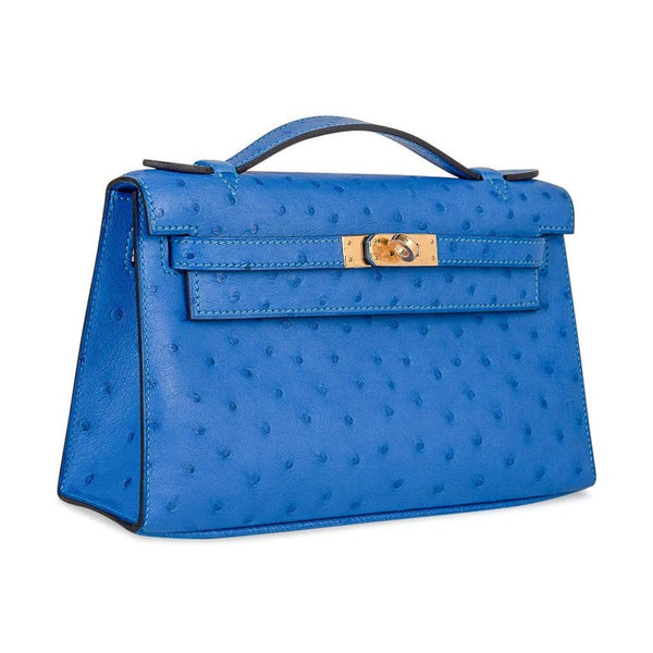 Hermes Kelly Pochette Bag Bluette Ostrich Clutch Gold Hardware