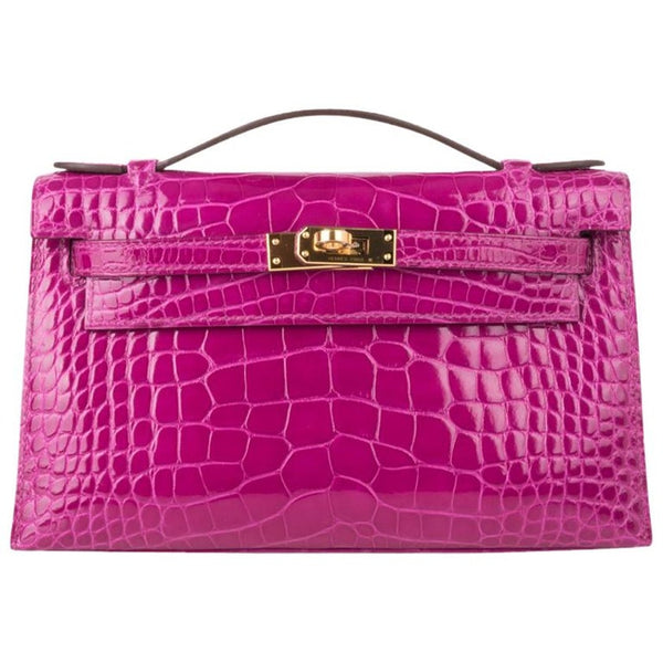 Hermes Kelly Pochette Bag Rose Scheherazade Pink Alligator Clutch Gold Hardware