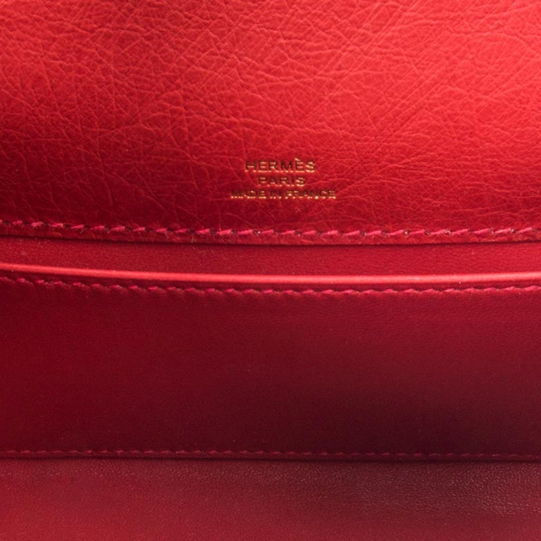 Hermes Kelly Pochette Bag Rouge Vif Red Ostrich Clutch Gold Hardware