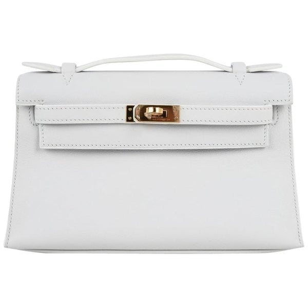 Hermes Kelly Pochette Clutch Bag Rare White Gold Hardware