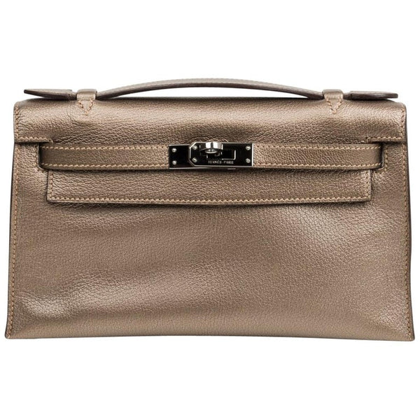 Hermes Kelly Pochette Metallic Bronze Clutch Bag Chevre Palladium