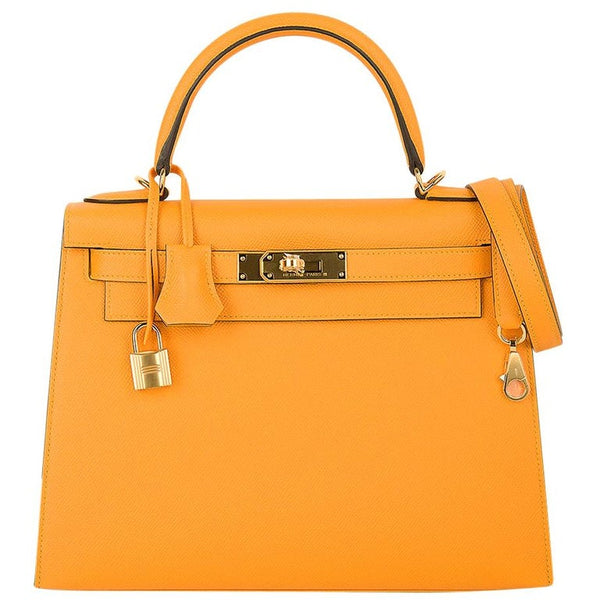 Hermes Kelly Sellier 28 Bag Jaune D'Or HSS Epsom Leather Gold Hardware