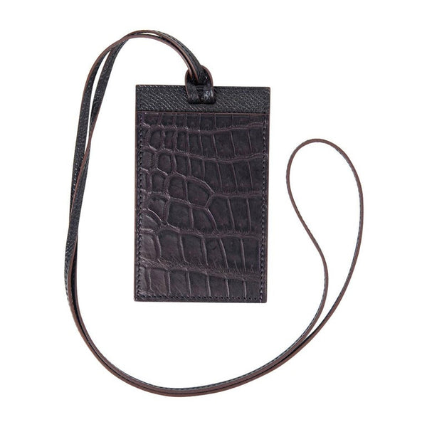 Hermes Lanyard Card Holder Prunoir Matte Crocodile / Gris Epsom Bi-Color Petit h