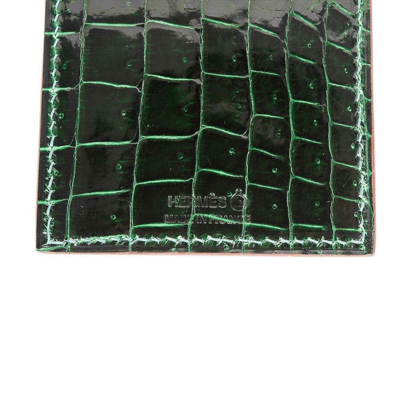 Hermes Lanyard Card Holder Vert Fonce Porosus Crocodile/ Black Epsom Bi-Color