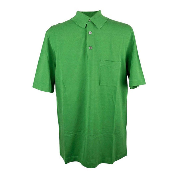 Hermes Men's Embroidered Polo Shirt Vert Vif Short Sleeve L