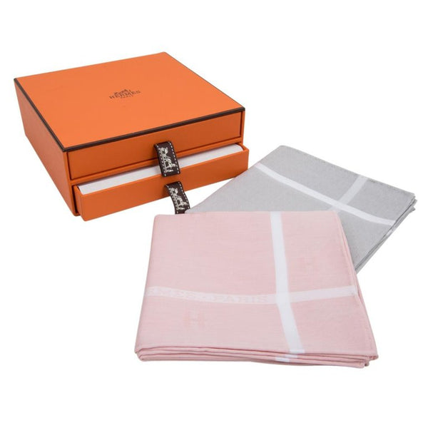 Hermes Men's Handkerchief Jacquard D'H Gris Clair Rose Clair Cotton w/ Box