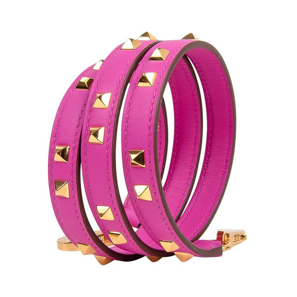 Hermes Mini Dog Carres Bag Strap 16mm Magnolia Pink Gold Hardware