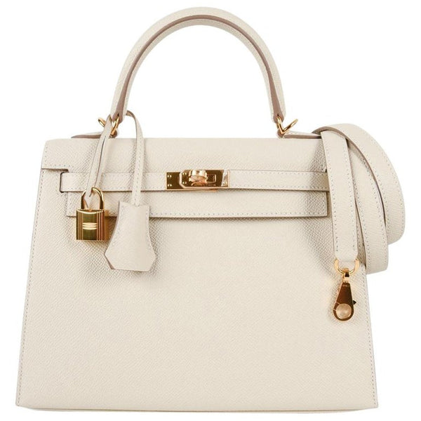 Hermes Neutral Craie Epsom Gold Hardware with Twilly Kelly 25 Sellier Bag