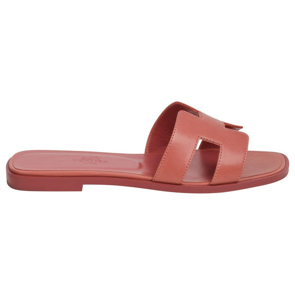 Hermes Oran Sandal Rouge Blush Chevre 37.5 / 7.5 New More Sizes Available