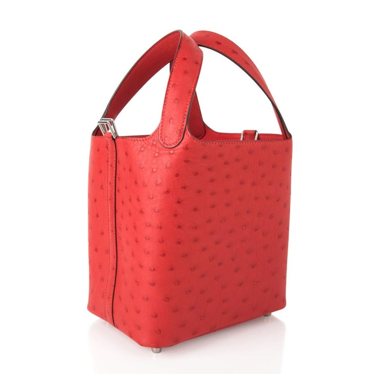 Hermes Picotin Lock 18 Bag Rouge Exotique Ostrich Tote Palladium Hardware nwt