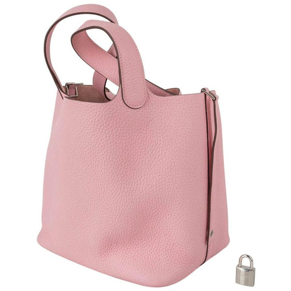 Hermes Picotin Lock 22 Bag MM Rose Sakura Pink Palladium Hardware