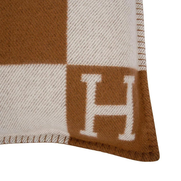 Hermes Pillow Avalon PM Signature H Camel / Ecru Throw Cushion