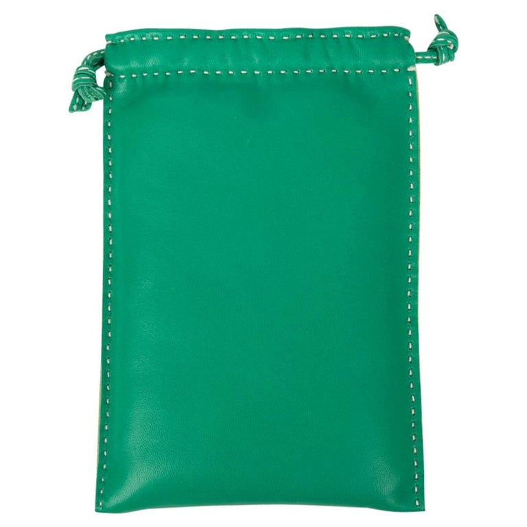 Hermes Pouch Case Menthe / Jaune Lambskin Leather