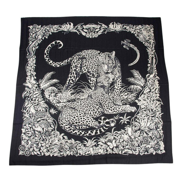 Hermes Scarf Jungle Love Tattoo Cashmere Silk Blue Noir / Blanc GM 140 cm