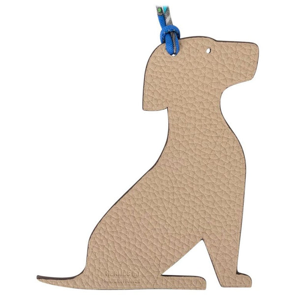 Hermes Seated Dog Bag Charm Petite h Bi-Color Blue / Trench