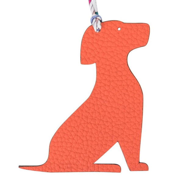 Hermes Seated Dog Bi-Color Bag Charm Orange / Blue new