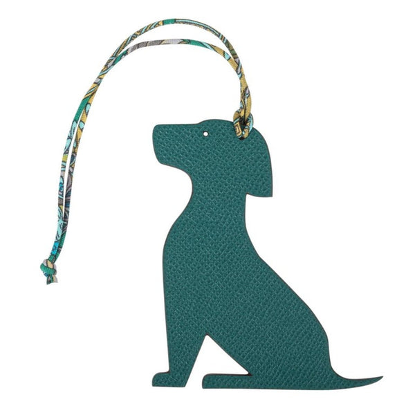 Hermes Seated Dog Bi-Color Bag Charm Rouge H / Malachite new