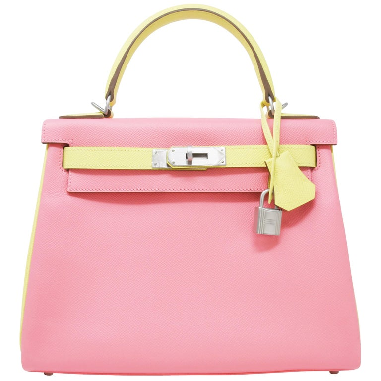 Hermes Kelly 28 cm Bi-Color Jaune Poussin and Rose Confetti PHW