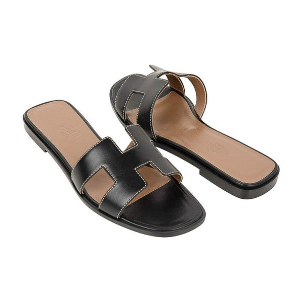 Hermes Shoes Flat Oran Sandal Black Calfskin White Top Stitch 36.5 / 6.5 New