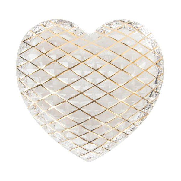 Hermes St. Louis Crystal Paperweight Clear (Quilted) Heart 24K Gold Detail