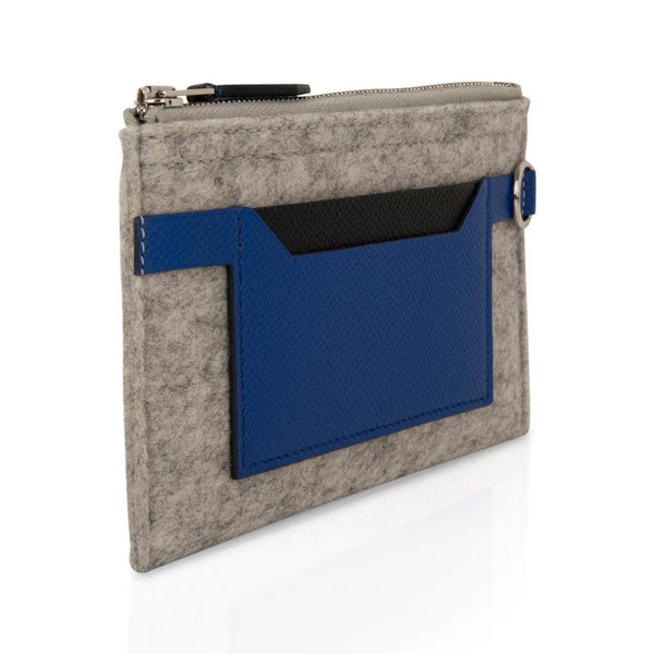 Hermes Toodoo Mini Colorblock Change Purse Gray Felt / Electric Blue / Black