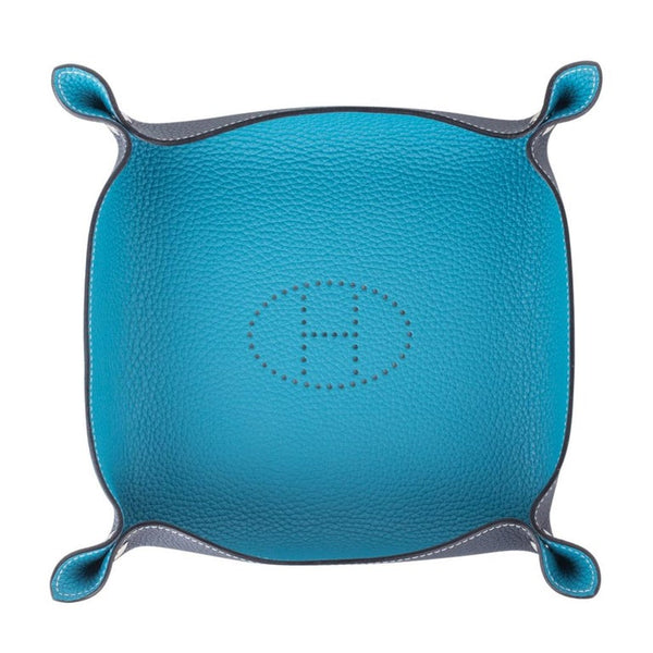 Hermes Change Tray Mises Et Relances Turquoise / Blue Abyss Clemence Leather New