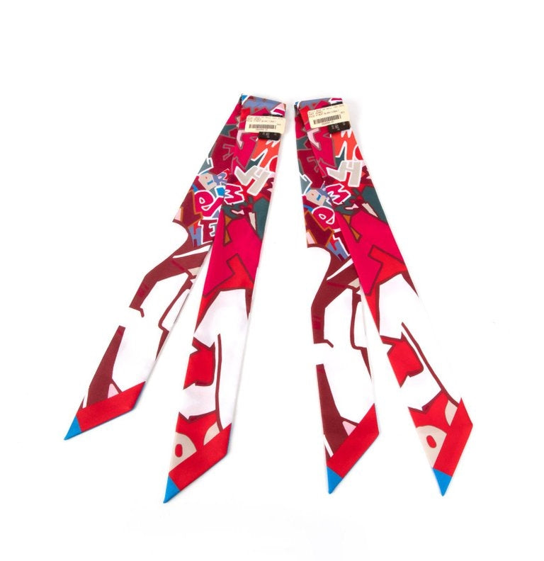 Hermes Twilly Silk Graff Graffiti Pair by Kongo Rouge Piment Blanc Cobalt