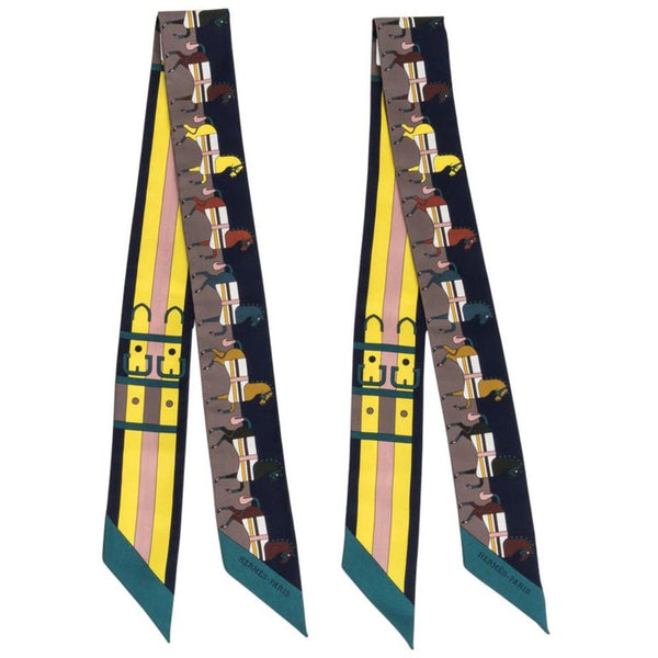 Hermes Twilly Rocabar Silk Scarf Marine Jaune Vert Set of 2 New