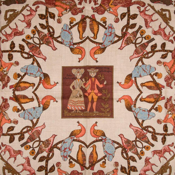 Hermes Vintage Shawl / Scarf Early America Cashmere and Silk