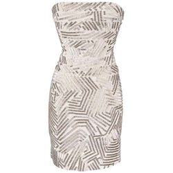 Herve Leger Dress Signature Bandage Strapless Silver Bugle Beads S
