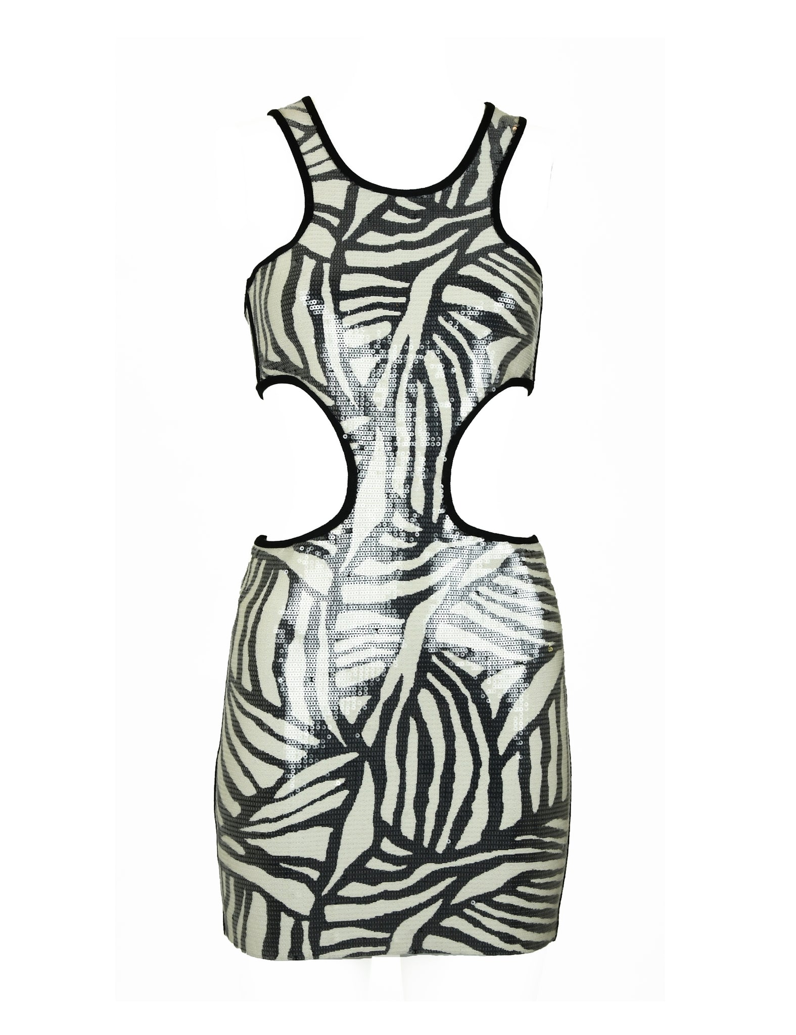 Herve Leger Zebra Sequin Cut Out Dress