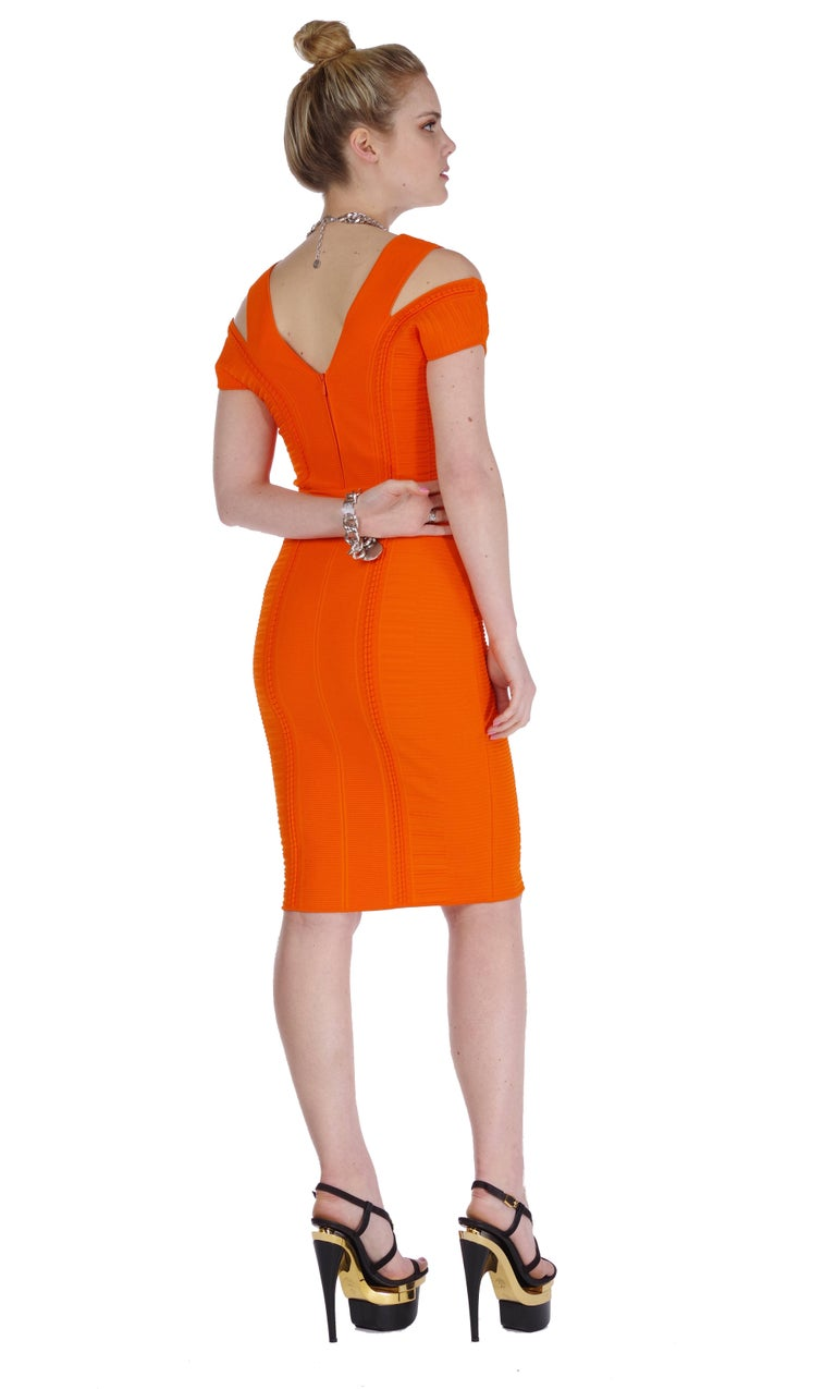 New Versace Stretch Knit Orange Dress
