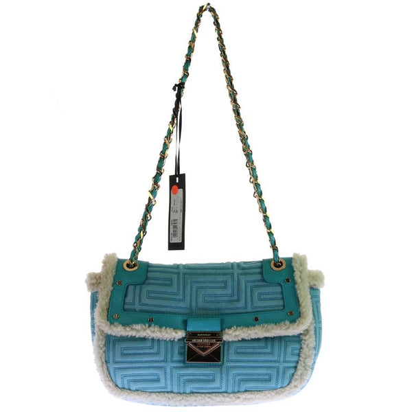 GIANNI VERSACE COUTURE blue quilted shearling leather shoulder bag