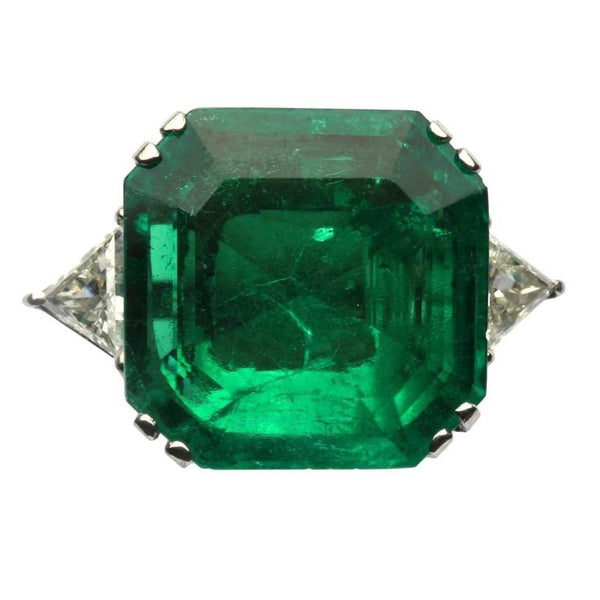 Important 17 Carat Emerald Diamond Gold Ring