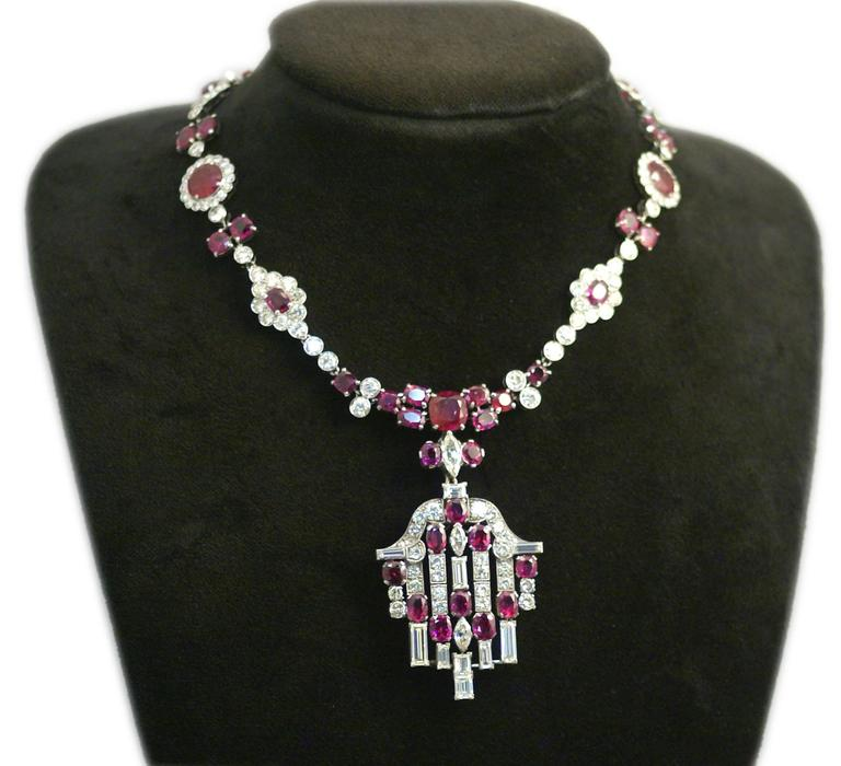 Important Antique Natural Burmese Ruby Diamond Silver Necklace