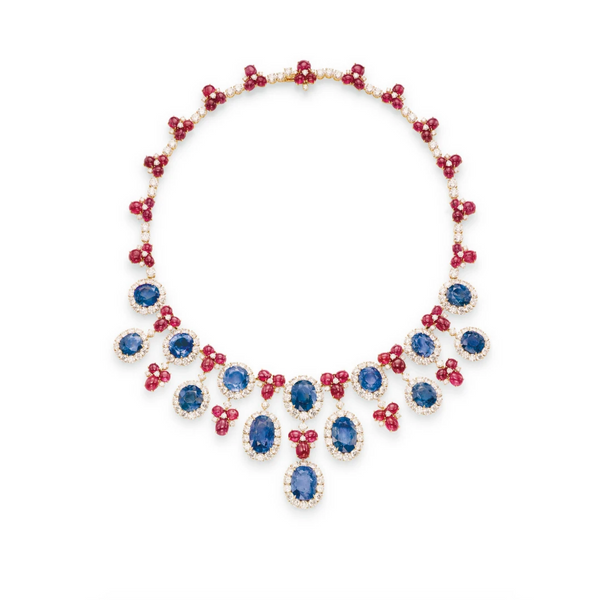 Important Bulgari Sapphire Ruby and Diamond Necklace