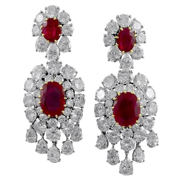 Important Van Cleef & Arpels Paris Burma Ruby Diamond Earclips