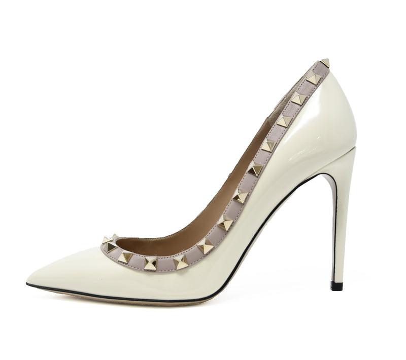 Valentino Rock Stud Off White Patent Leather Pumps