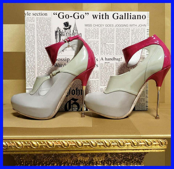 Rare JOHN GALLIANO LEATHER NUDE PINK COLOR BLOCK PLATFORM STILETTO SHOES Sz 36.5