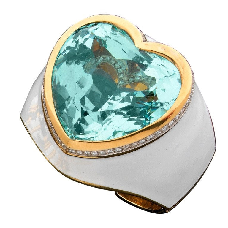 David Webb Large Aquamarine Cuff