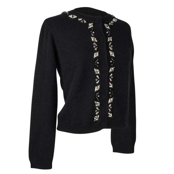 Louis Vuitton Cardigan Black Cashmere Silver Embellished Front S