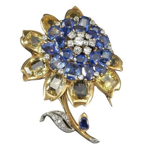1945 Cartier London Exquisite Multicolor Sapphire Diamond Brooch
